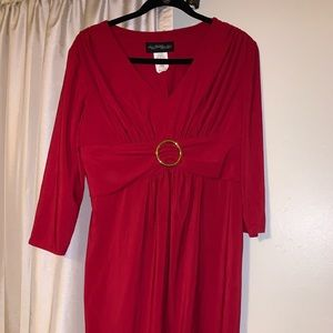New Red mid length dress 3/4 sleeve